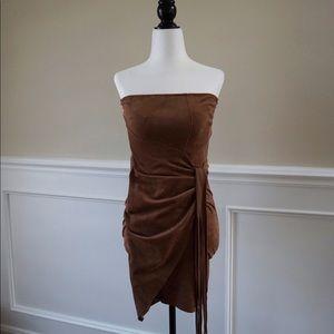 Strapless wrap tassel style party dress